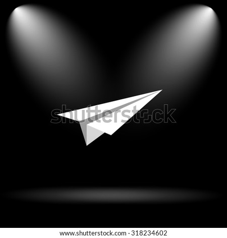 Paper plane icon. Internet button on black background.