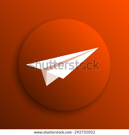 Paper plane icon. Internet button on orange background