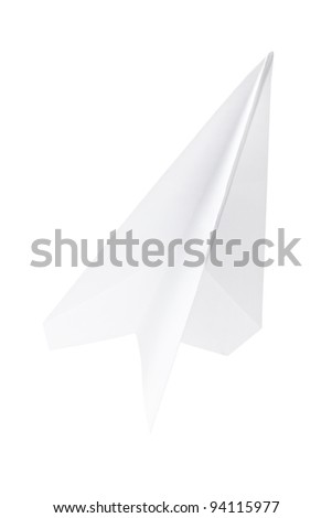 Paper plane isolated on white background, clipping path included - stock photo