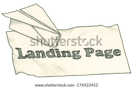Paper Plane on a Landing Page with Clipping Path - stock photo