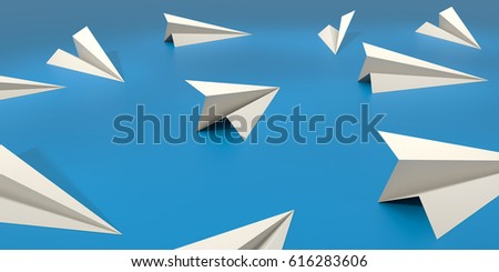 Paper Plane with blue background. 3D Illustration.