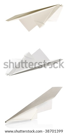 paper planes isolated on a white background - stock photo