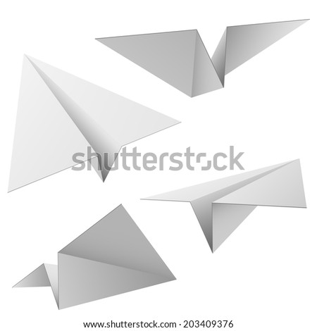 Paper planes isolated on white background. - stock photo