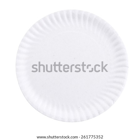 Paper plate isolated on white background - stock photo
