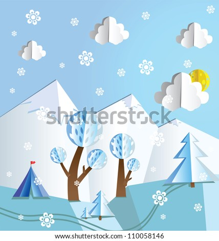 Paper pop up winter beautiful landscape - snow peaks, trees, snowflakes and tourist's tent. - stock photo