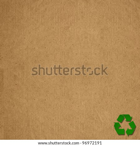 Paper recycled sign on blank grunge paper texture. Save the world concept. - stock photo