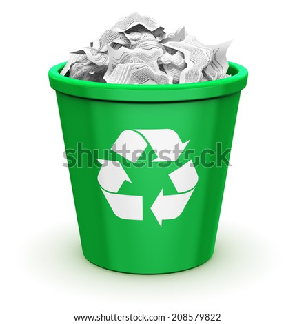 Paper recycling, environment protection and nature saving business concept: green office recycle bin with recyclable symbol, icon or sign full of wrinkled documents isolated on white background