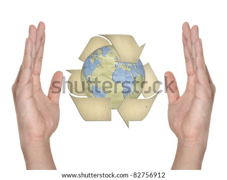 Paper recycling symbol on hand isolated
