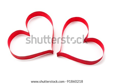 Paper red hearts on white background - stock photo