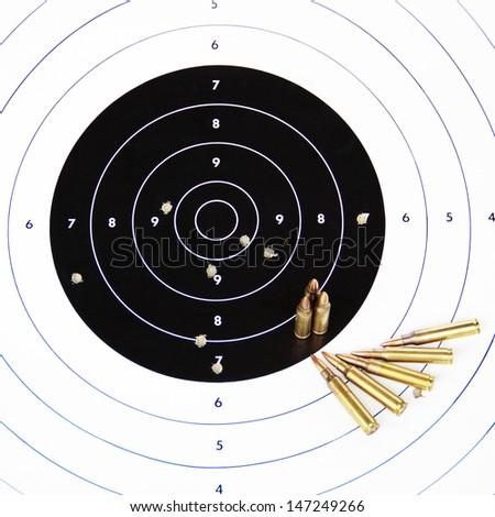 Paper rifle target. - stock photo
