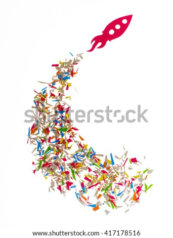 paper rocket. Startup, success and growth concept, isolated - stock photo