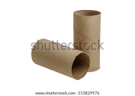 Paper roll of bathroom isolated on white background with clipping path - stock photo