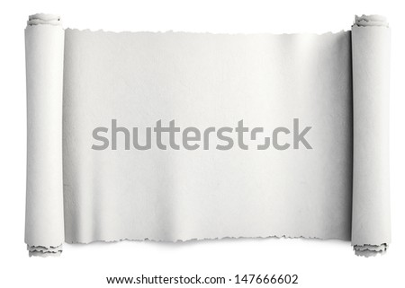paper scroll. Isolated on white. - stock photo