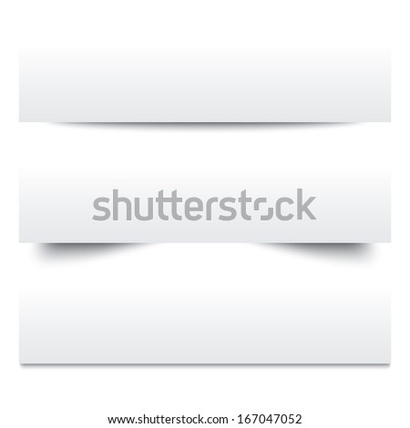 Paper shadows. Collection of white note papers. Paper separators, dividers. Page delimiters. Illustration. - stock photo