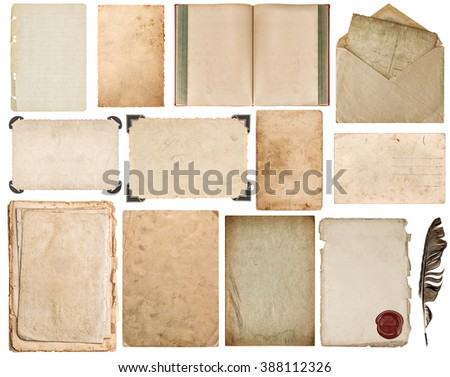 Paper sheet, book, envelope, cardboard, photo frame with corner isolated on white background