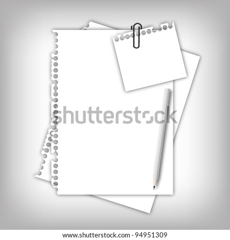 Paper sheet page and note pad with pencil. - stock photo