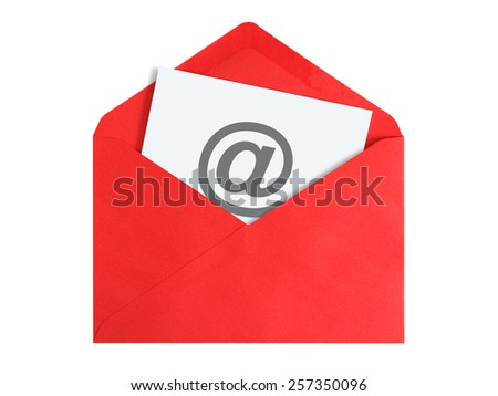 Paper sheet with email icon in red envelope - stock photo