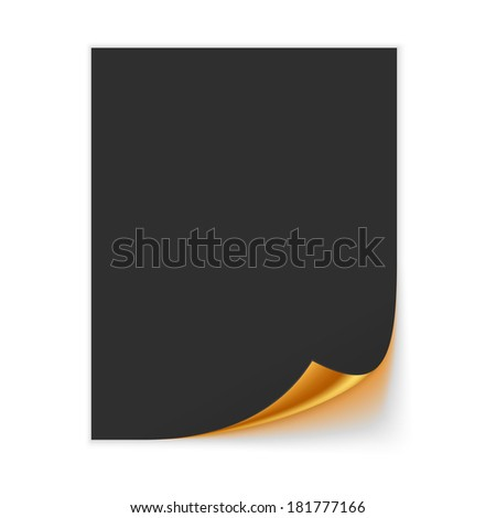 Paper Sheet With Golden Curled Corner. Raster Version - stock photo