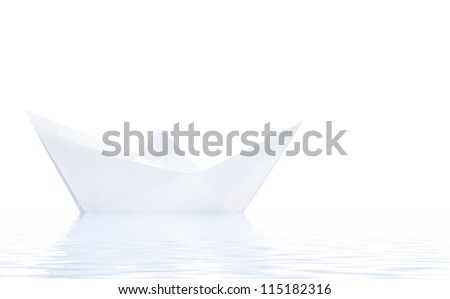 Paper ship in water with reflection isolated on white background - stock photo