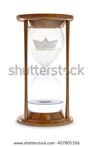 Paper ship inside a water-filled hourglass - 3d conceptual illustration