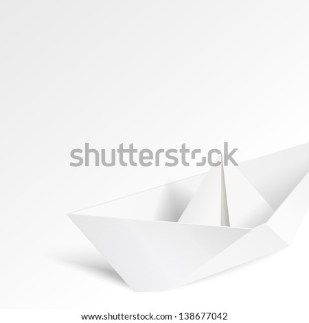 Paper ship origami.  Illustration