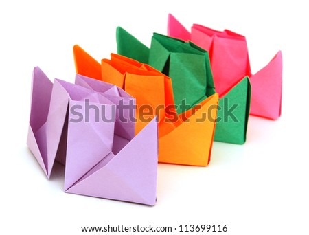 Paper ships on white background - stock photo