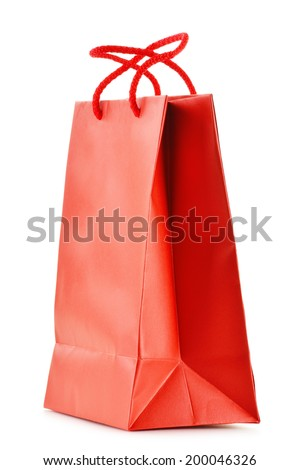 Paper shopping bag isolated on white background. - stock photo