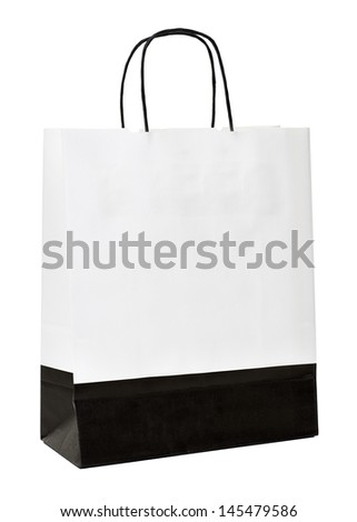 Paper shopping bag on white background - stock photo