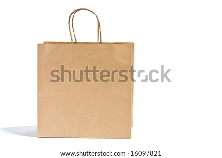Paper shopping bag on white background.