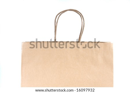 Paper shopping bag on white background. The top part of a bag.