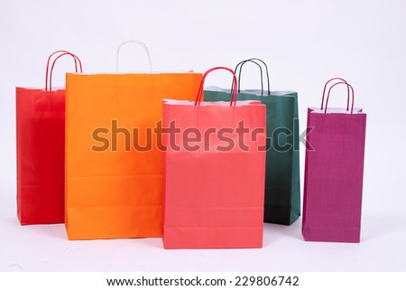Paper shopping bags isolated on white background.  - stock photo
