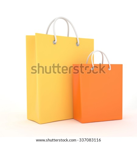 Paper Shopping Bags isolated on white background - stock photo