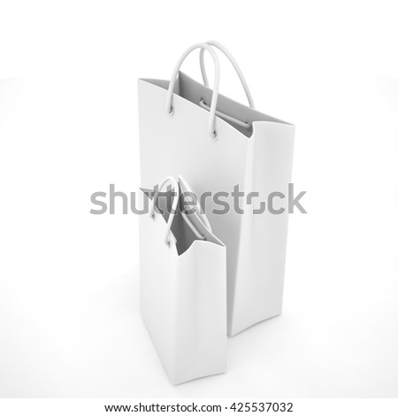 Paper Shopping Bags isolated on white background. 3d rendering.