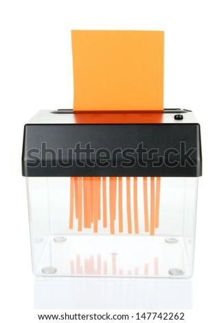 Paper shredder machine, isolated on white - stock photo