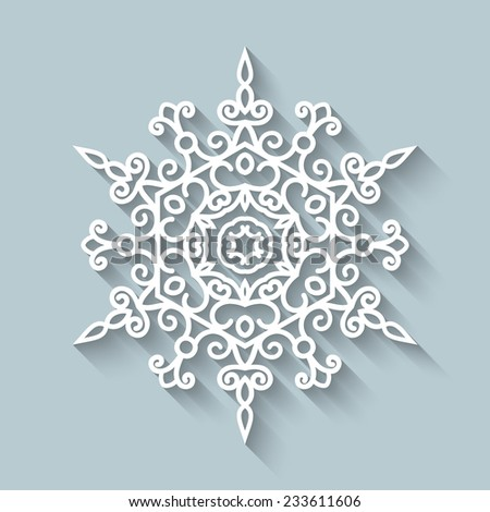 Paper snowflake, lace doily, raster winter decoration - stock photo