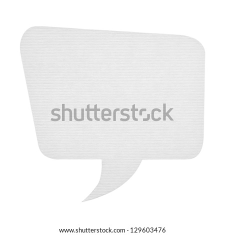 Paper speech bubble isolated on white - stock photo