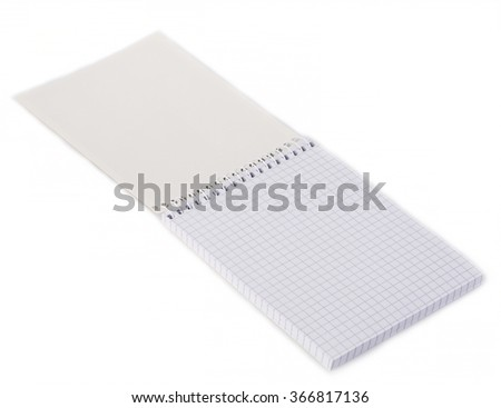 Paper spiral notebook close-up isolated on a white background. Blank background.