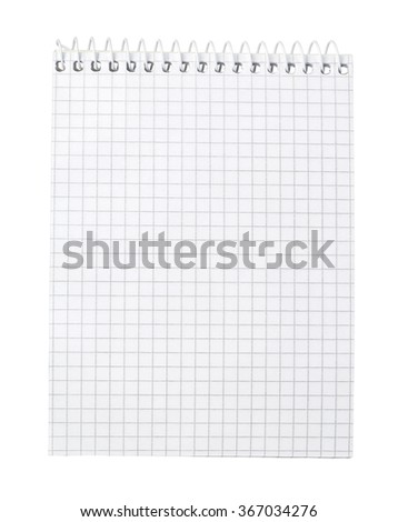 Paper spiral notebook close-up isolated on a white background. Blank background. - stock photo
