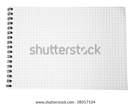 paper spiral notebook in cell  isolated on white
