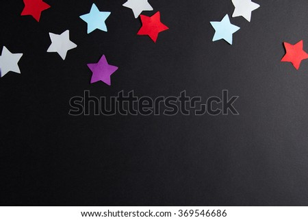 Paper stars of different colors