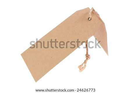 Paper tag isolated on white background. Handcrafted