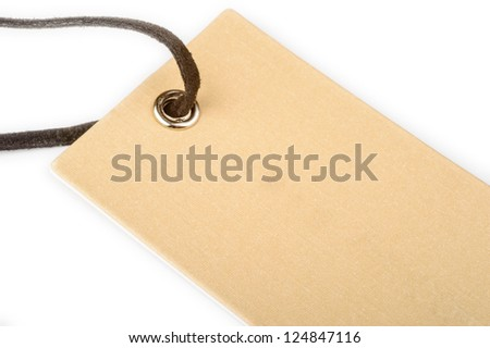 Paper tag with hole and string. Lots of place to wright your text on.