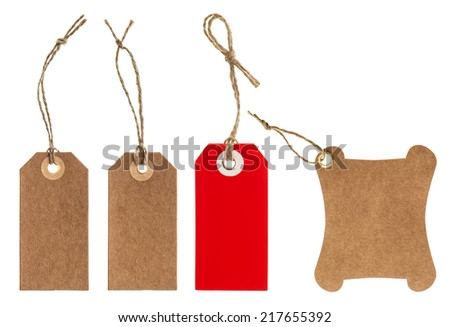 paper tags with string isolated on white background. scrapbook elements - stock photo