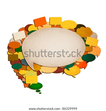 paper talk image created by recycled paper cut isolate on white background - stock photo