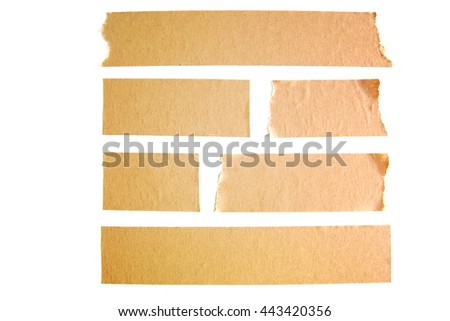 Paper tape isolated on white background, look like block wall background