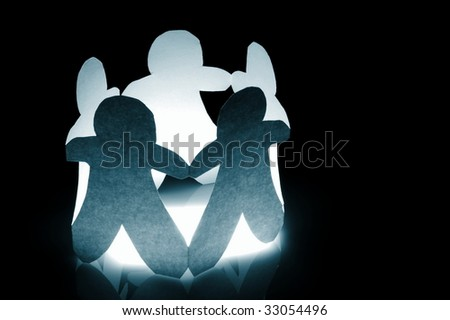 paper team showing concept for friendship teamwork love and help - stock photo