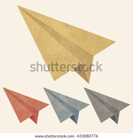 Paper texture,Colorful paper airplanes. Illustration on white background
