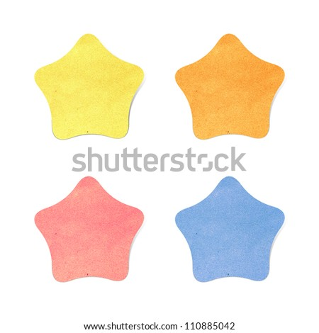 Paper texture,Star recycled paper on white background - stock photo