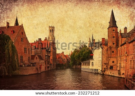 Paper texture with ancient Brugges (Brugge,Belgium) canal cityscape - Venice of the North and famous center of the European architecture and culture.  Aged textured photo in retro style