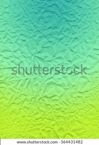 Paper texture with gradient overlay. The multi-colored bright texture of crumpled paper. Lime and turquoise expressive texture of the old paper. - stock photo